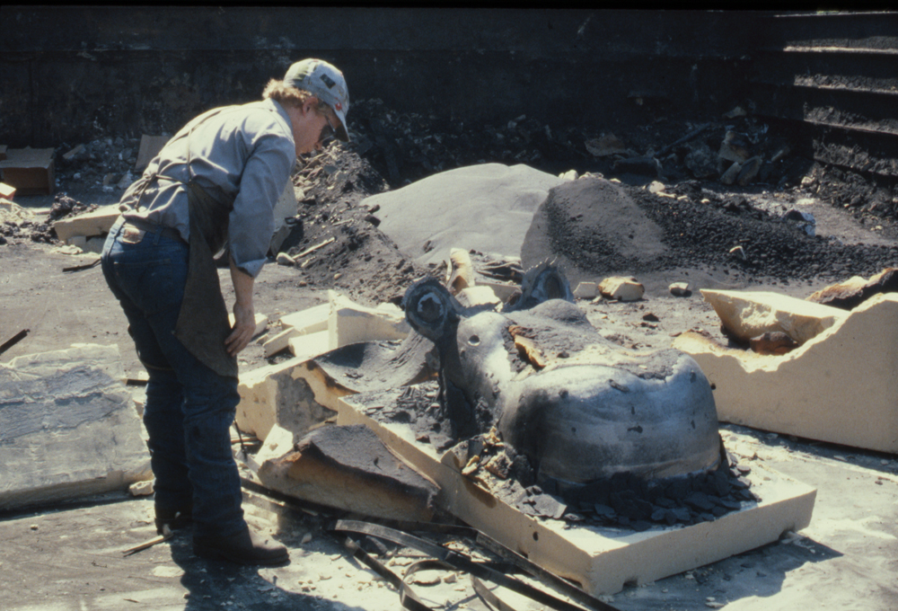 Freshly opened bonded sand mold for the Hippo, 1988