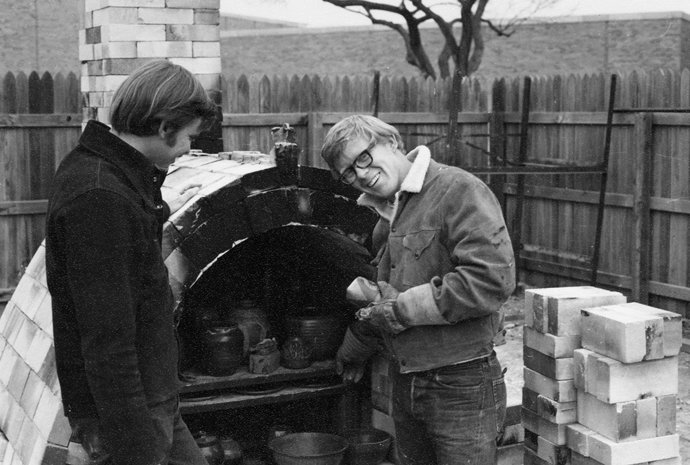 Ken with my good friend and mentor Dick Evans inspecting the first results of the first kiln I ever built. 1969
