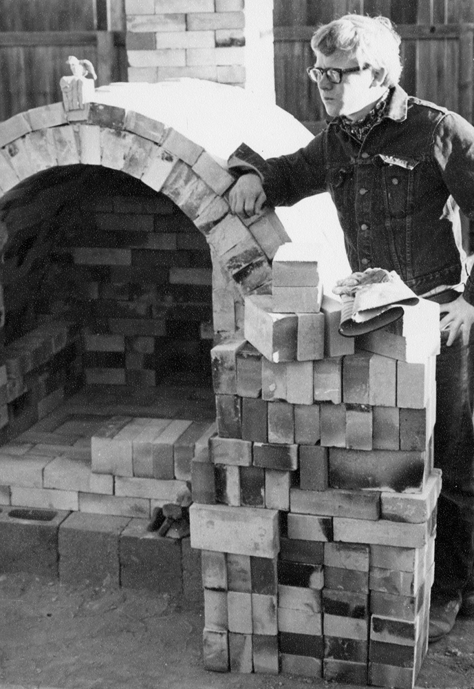 Ken with my first Kiln, 1969