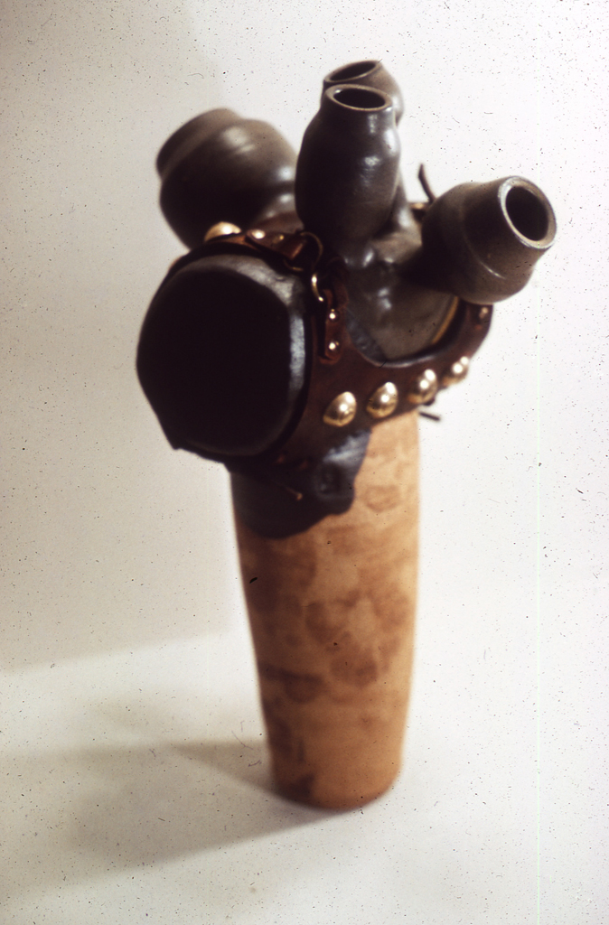 Untitled stoneware and leather/metal, mixed Media; 1968; 18