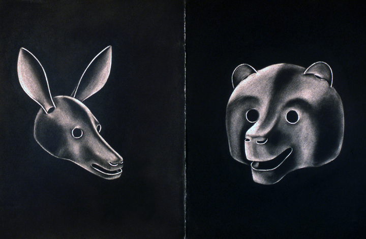 "This series of erased charcoal drawing was an exploration of form prior to working in hard materials, like the steel armatures for the paper sculptures. ""Doe-Bear"" (1985) led Little to began working with Harry Geffert at Green Mountain foundry in Crowley Texas to learn to cast these forms in bronze; Erased Charcoal Drawing diptych; 30"