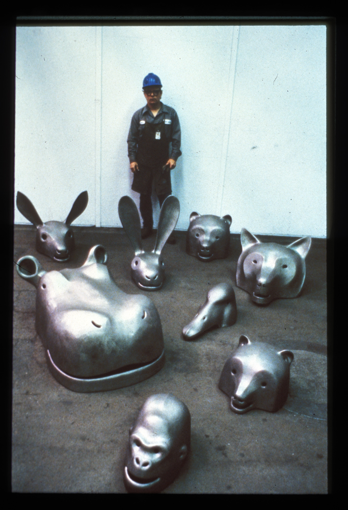 Ken with iron castings 1988; at the Arts Industry program of the Kohler Company