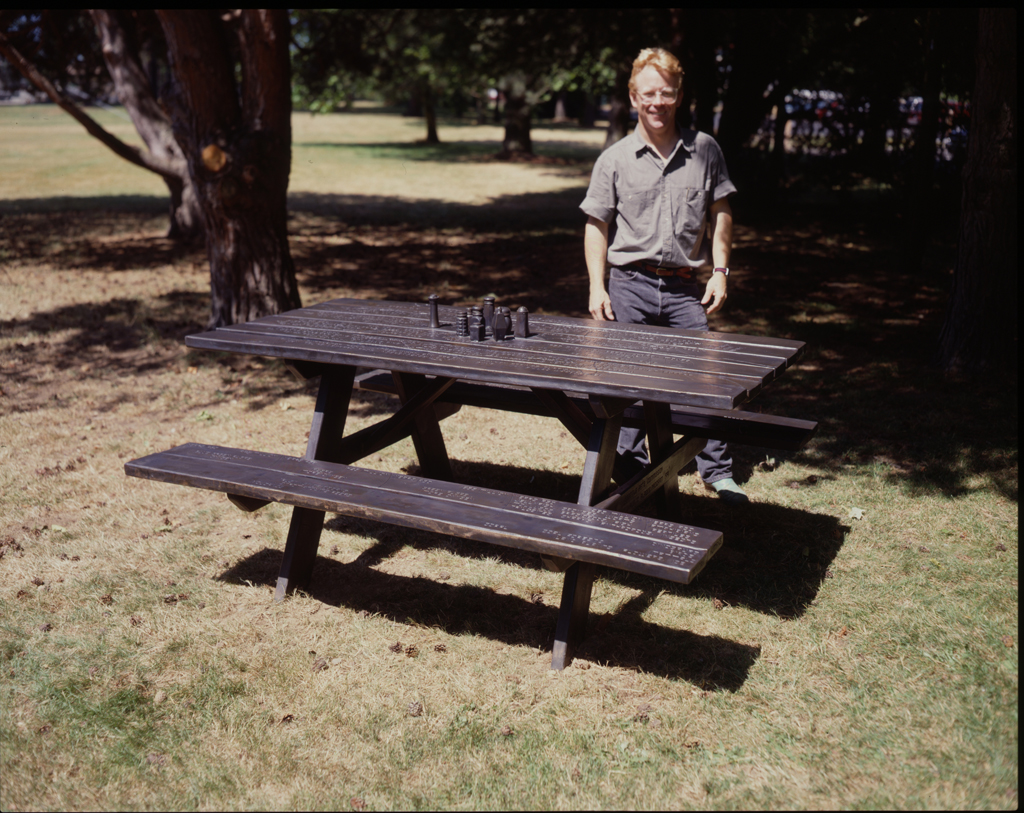 """""""Mesa"""" 1988; Little's first public work  commissioned in 1988 by the Seattle Arts Commission and installed in 1991 at the North entrance of the Woodland Park Zoo in Seattle, Washington."""