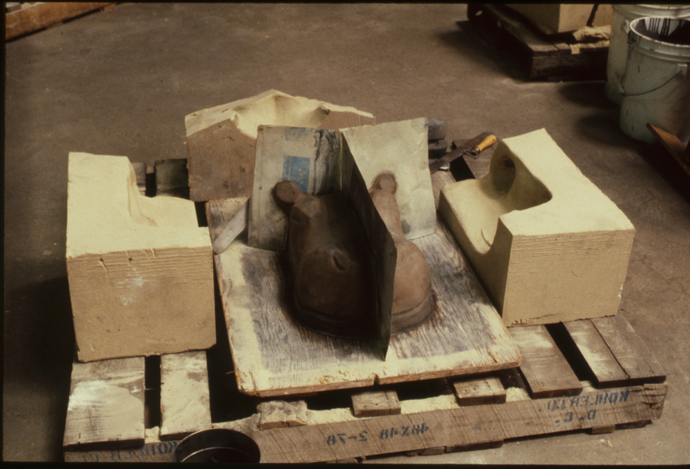 Bonded sand mold parts for smaller Hippo, 1988