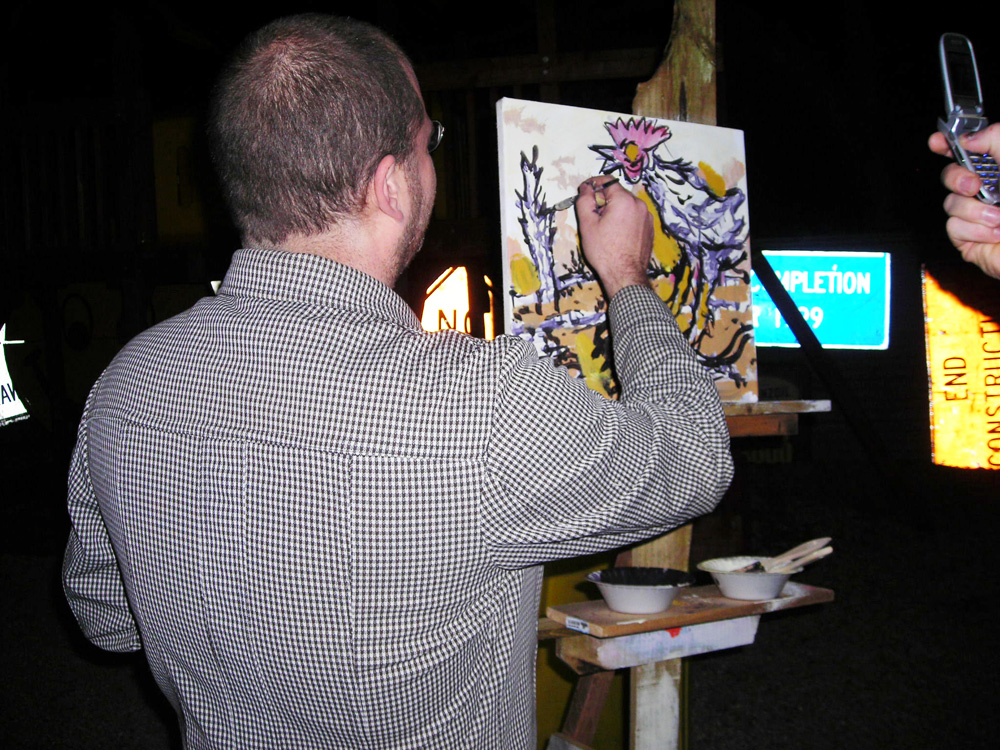 Chicken George Zupp painting demonstration at a 2006 Hometown Artist's Rodeo
