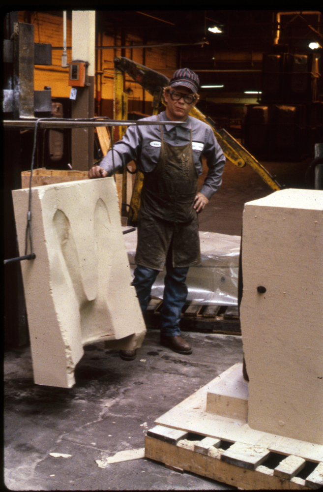 Taking the bonded sand mold off the clay Hare, 1988