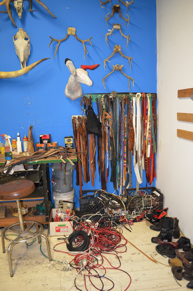 Rrose Amarillo Studio tour, December 2012: Belts, cords, and shoes