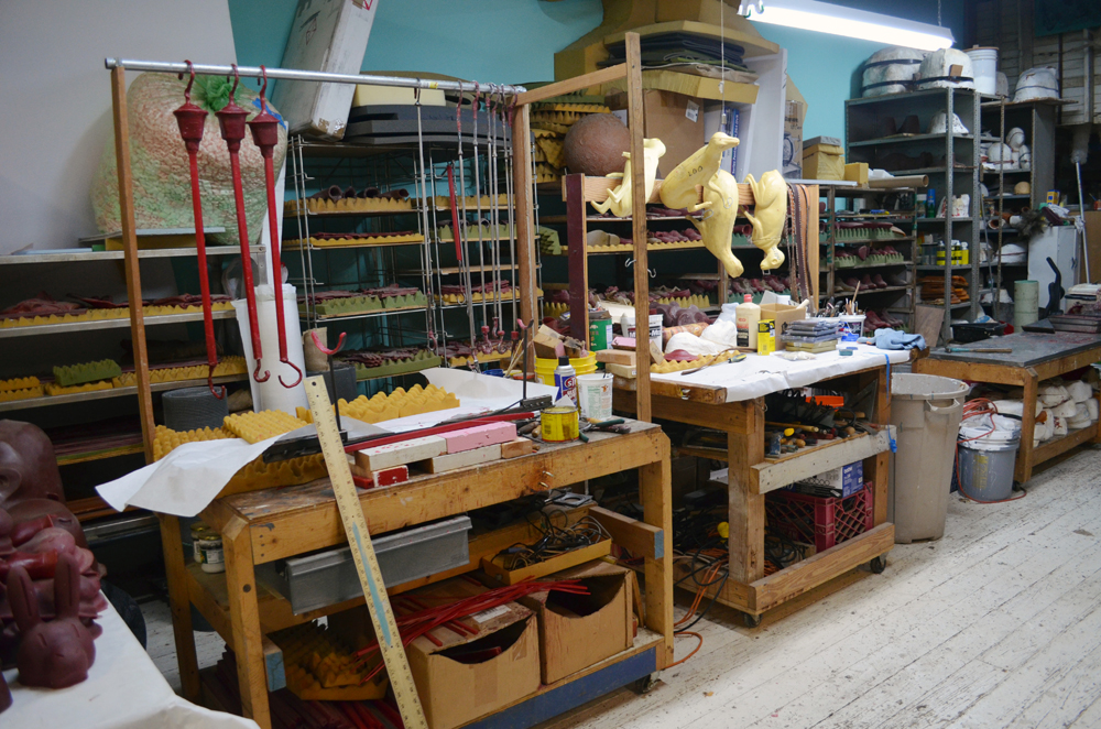 Rrose Amarillo Studio tour, December 2012: The wax working and spruing work station, with the wax library in the background.