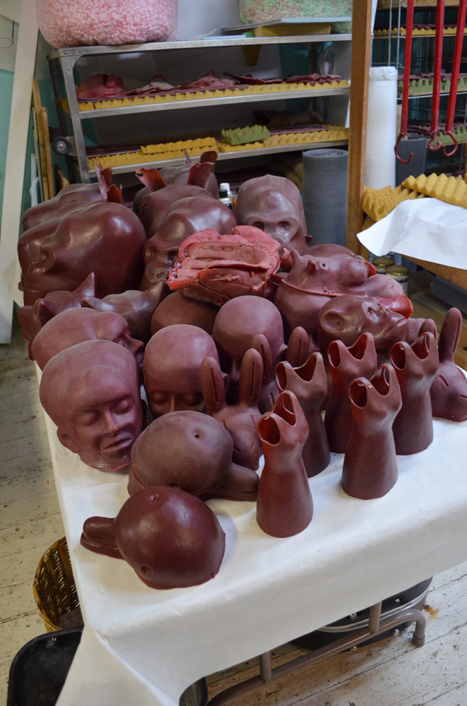 Rrose Amarillo Studio tour, December 2012: Bronze Edition Waxes ready to sprue and invest.