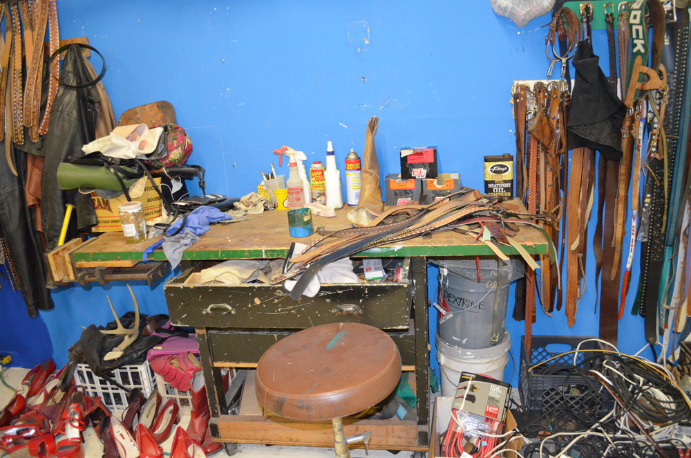 Rrose Amarillo Studio tour, December 2012: Work bench for shoe sculptures