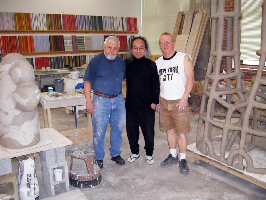 Rudy Autio, Jun Kaneko, and me at Jun's Studio in Omaha Nebraska, 2003